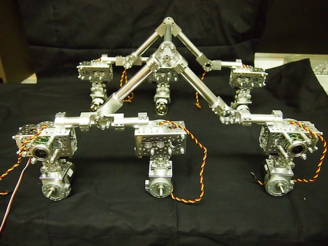 We have completed the hardware portion of the rocker-bogie suspension system for the new Mars Rover.