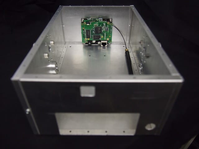 Here is the assembled Mars Rover box with the camera mounted in the front panel.
