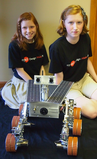 Here are the girls with the partially completed Mars Rover.