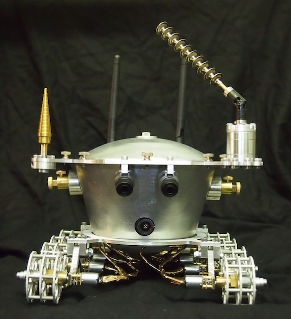 Lunokhod Front View. The black circle at the bottom is a high-definition wifi camera that provides a First Person View (FPV) to the person operating the robot.